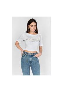 T-Shirt Com Detalhe Em Zíper Branco Branco
