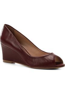 Peep Toe Couro Shoestock Anabela Confort - Feminino-Vinho