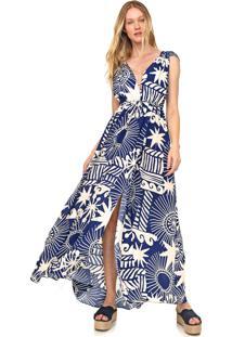 Vestido Cantão Longo Sol Azul/Off-White