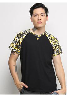 Camiseta Cavalera Raglan Clamufada Masculina - Masculino-Preto