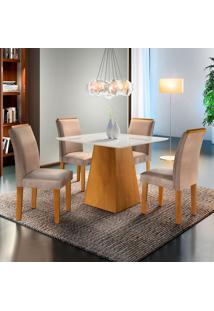 Conjunto De Mesa De Jantar Com 4 Cadeiras Sevilha L Suede Off White E Bege
