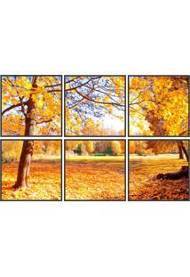Conjunto Com 6 Quadros Decorativos Outono Preto