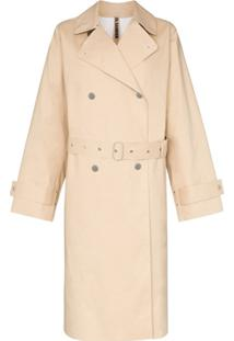 Jil Sander Trench Coat Com Abotoamento Duplo - Neutro