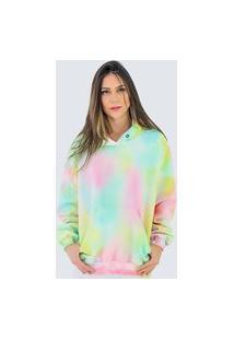 Blusa Moletom Fechada Com Toca Elegant Feminino Tie Dye Dubuy 700La Colorido
