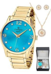 Kit Relógio Champion Dourado + Semi Joias Feminino - Feminino-Dourado