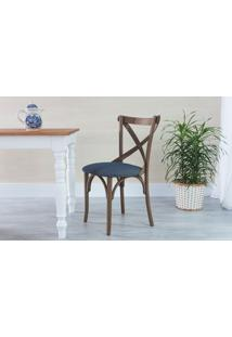 Cadeira X Estofada De Madeira Torneada Com Encosto Anatômico Madeleine - Stain Nogueira - Tec.997 Chumbo - 50X54,5X86 Cm
