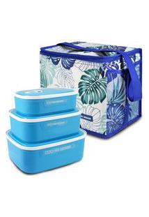 Conjunto Bolsa Térmica Quadrada E Kit De 3 Peças Potes Para Alimentos Fitness Jacki Design Azul