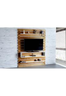 Painel De Tv Para Quarto Standby - Painel De Parede Tv Até 60 Polegadas Nózes E Branco - 135X23X172 Cm