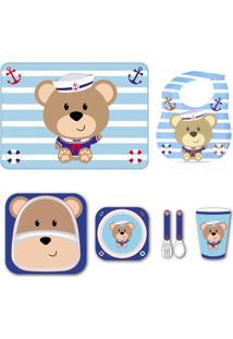 Kit Alimentação Babador Jogo Americano - Urso - Unik Toys Azul