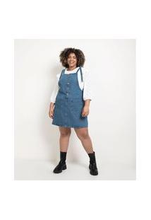 Vestido Salopete Jeans Curto Com Bolsos E Amarração Nas Alças Curve & Plus Size