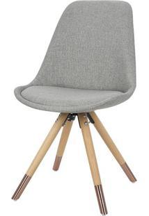 Cadeira Lunes Assento Tecido Cinza Com Base Madeira - 46517 Sun House