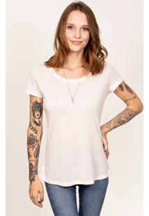 Camiseta Cora Decote Redondo Em Linho Off-White
