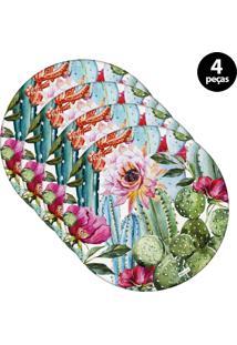 Capa Para Sousplat Mdecore Floral Rosa 4Pçs