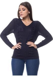 20995dbc10 ... Blusa Logan Tricot Textura Duas Tranças Feminina - Feminino-Marinho