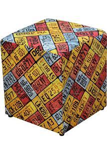 Puff Quadrado Decorativo Tecido Placas - Lymdecor