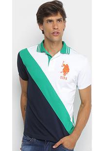 Camisa Polo U.S.Polo Assn Piquet Recorte Diagonal Frisos Bordado Masculina - Masculino-Branco+Verde