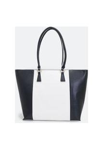 Bolsa Shopper Bicolor | Satinato | Preta | U