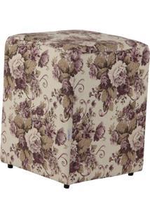 Puff Quadrado Cubo Linho Floral Roxo