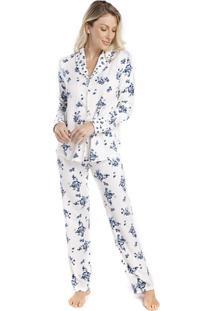 Pijama Feminino De Inverno Aberto Floral Fiorella