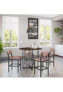 Conjunto De Mesa De Cozinha Liz Com 4 Bancos | Banquetas Nice Ameixa Negra E Preto