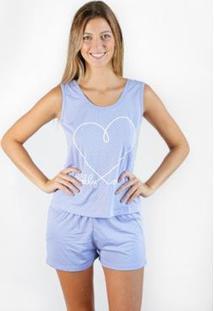 Pijama Regata Gislal Verão Shorts Dady Loves Me Feminino - Feminino-Lilás