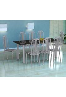 Conjunto De Mesa Córdoba Com 8 Cadeiras Granada Branco Prata E Preto Listrado Grafite