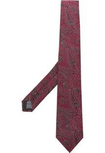 Saint Laurent Gravata Com Padronagem Paisley - Vermelho