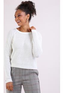 Suéter Feminino Em Tricô Decote Redondo Off White