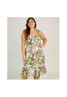 Vestido Plus Size Midi Feminino Estampa Folhas Marisa
