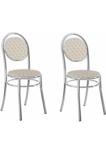 Kit 2 Cadeiras 190 Retrô/Cromado - Carraro Móveis