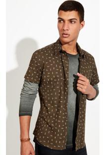 Camisa Masculina Em Tecido De Algodão Estampado