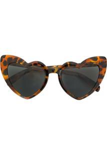 Saint Laurent Eyewear Óculos De Sol 'New Wave 181 Loulou' - Marrom