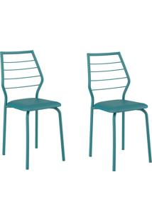 Kit 2 Cadeiras 1716 Turquesa - Carraro Móveis
