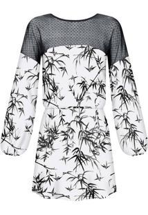 Vestido Estampado Renda Cinto Bamboos - Lez A Lez