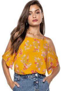 Blusa Amarelo Escuro Floral Com Abertura