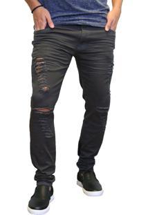 Calça Jeans Elite Lux Skinny Chumbo Rasgada