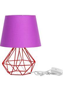 Abajur Diamante Dome Roxo Com Aramado Vermelho