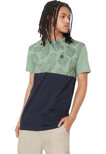 19e9ec6b5f ... Camiseta Hang Loose Estampada Verde Azul-Marinho