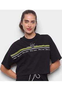 Camiseta Colcci Cropped Disney Donald Duck Feminina - Feminino-Preto