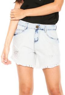 Bermuda Jeans Morena Rosa Reta Comfort Azul