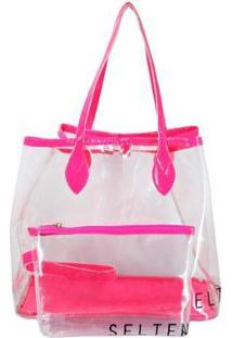 Bolsa Selten Transversal + Necessaire Transparente Neon Feminina - Feminino-Pink