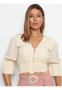 Blusa Cropped Com Botãµes - Bege - Aboutabout