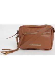Bolsa Em Couro Com Tag E Bag Charm- Marrom Claro- 15Di Marlys