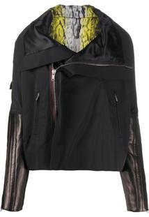 Rick Owens Leather Sleeve Zipped Jacket - Preto