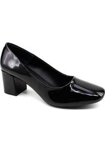 Sapato Scarpin Mixage Verniz - Feminino-Preto