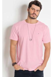 Camiseta Actual Rosa Com Manga Curta
