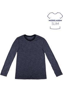Camiseta Masculina Básica De Manga Longa Fio A Fio