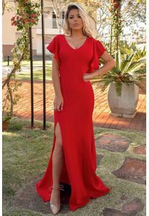 Vestido Longo Crepe Fenda Decote V Mangas Babado Costas Vermelho
