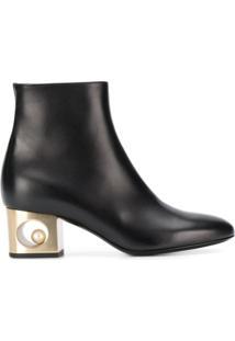 Coliac Ankle Boot Com Salto Contrastante - Preto