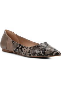 Sapatilha Shoestock Bico Fino Wild Snake Feminina - Feminino-Cinza